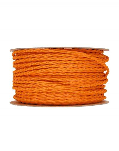 Kábel dvojžilový skrútený v podobe textilnej šnúry v pomarančovej farbe (1)