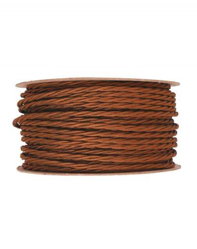 Kábel dvojžilový skrútený v podobe textilnej šnúry vo whiskey farbe, 2 x 0.75mm, 1 meter (1)