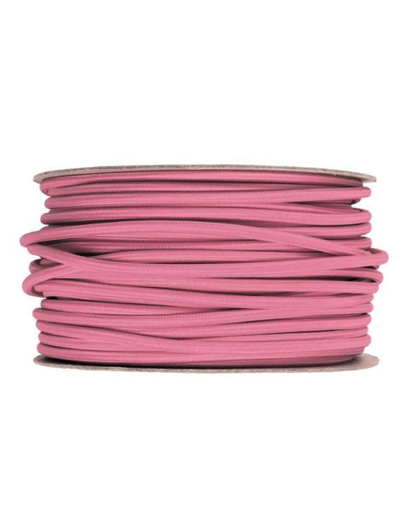 Kábel dvojžilový v podobe textilnej šnúry v tmavo ružovej farbe, 2 x 0.75mm, 1 meter