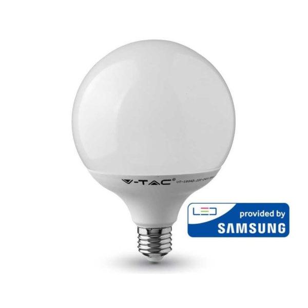 LED Žiarovka SAMSUNG čip, GLOBUS, E27, 18W, Denná biela, 2000lm je kvalitná žiarovka, ktorá obsahuje originálny čip od prestížnej značky SAMSUNG