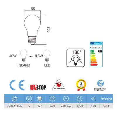 Zrkadlová dekoračná žiarovka 4W, E27, 4000lm, CLASSIC, Zlatá (2)