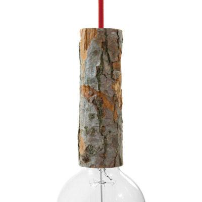 Drevená objímka E27 s káblovou svorkou, 22 cm