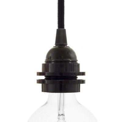 E27 hladká objímka z bakelitu pre použitie tienidla v čiernej farbe (1)