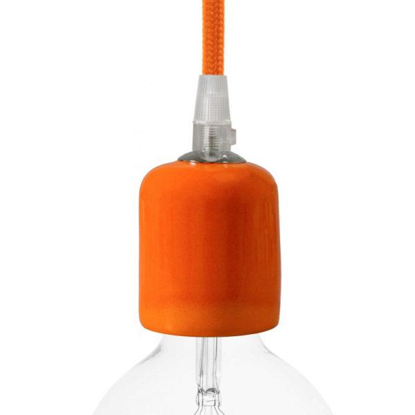 Handmade keramická objímka s príslušenstvom v oranžovej farbe