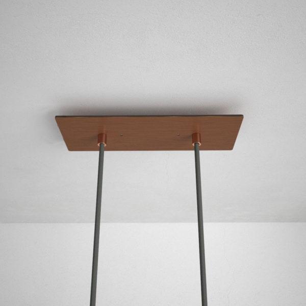 Obdĺžniková stropná rozeta, 30 x 12 cm s 2 otvormi, kovová, medená farba (2)