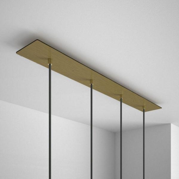 Obdĺžniková stropná rozeta, 90 x 12 cm so 4 otvormi, kovová, mosádzna farba (2)