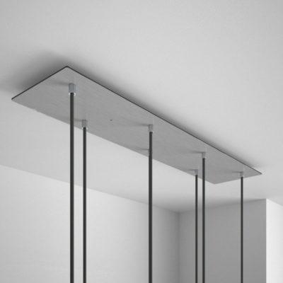 Obdĺžniková stropná rozeta, 90 x 20cm so 7 otvormi, kovová, oceľová lesklá farba (2)