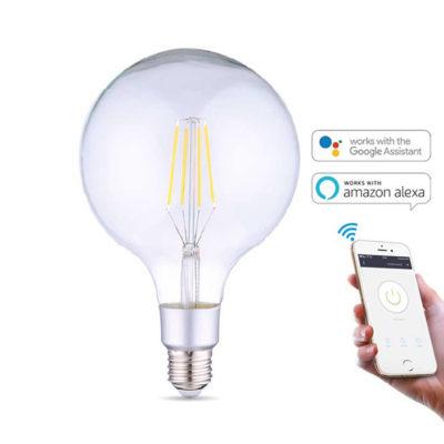 SMART WIFI LED Žiarovka, 6W, 700Lm, E27, Teplá biela, kompatibilná s AMAZON ALEXA + GOOGLE HOME