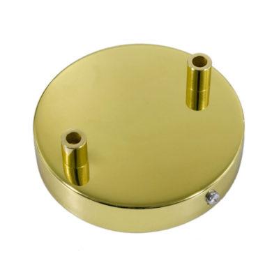 Stropný držiak pre 2 svietidlá, 12cm, kov, zlatá farba (2)