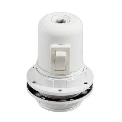 Bakelitová objímka E27 s vypínačom a krúžkami pre tienidlo v bielej farbe.