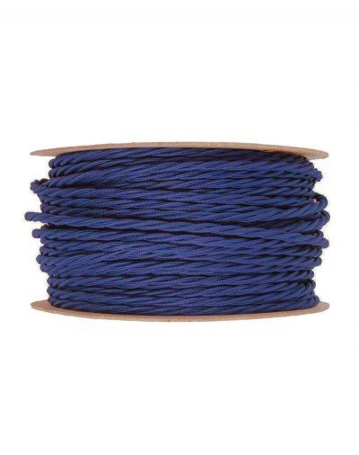 Kábel dvojžilový skrútený v podobe textilnej šnúry v tmavo modrej farbe, 2 x 0.75mm, 1 meter