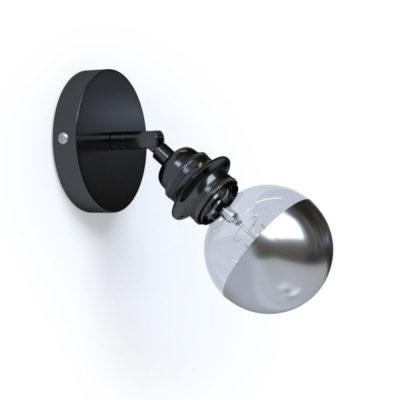 Kovové nastaviteľné svietidlo na stenu alebo strop, možnosť pripojenia tienidla, čierna perleťová farba