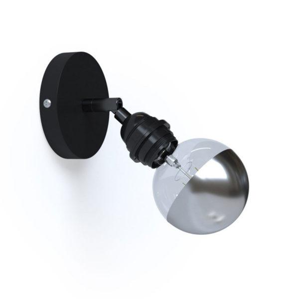 Kovové prispôsobiteľné svietidlo na stenu alebo strop, možnosť pripojenia tienidla, čierna farba