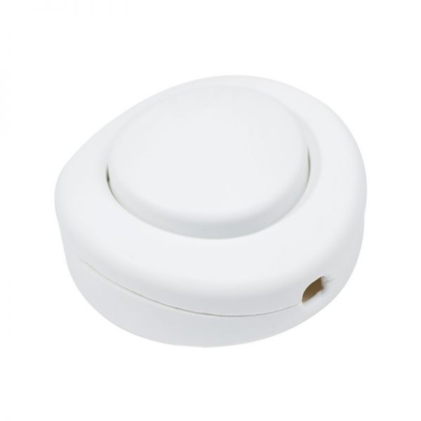 Podlahový dvojpólový vypínač pre svietidlá a lampy v bielej farbe