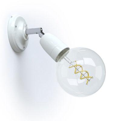 Porcelánové nástenné a stropné svietidlo s nastaviteľným sklonom v bielej farbe