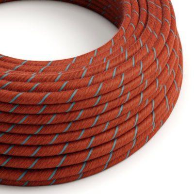 Textilný kábel, bavlna, Vertigo - tehlový:svetlo modrý, 2 x 0.75mm, 1 meter