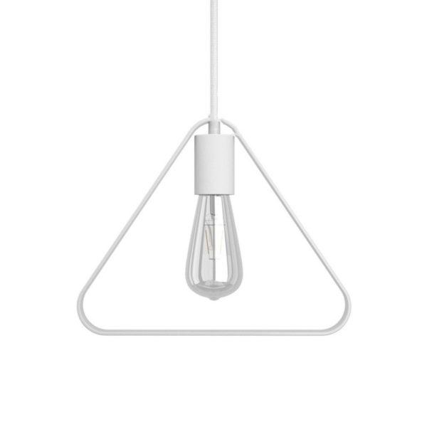 Tienidlo kovové v tvare trojuholníka v bielej farbe s E27 objímkou a bielou kovovou krytkou