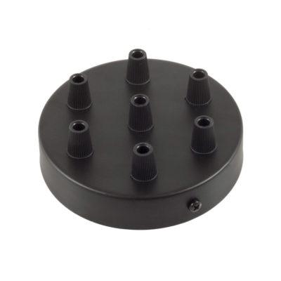 Čierny stropný držiak pre 7 svietidiel, 12cm, kov-