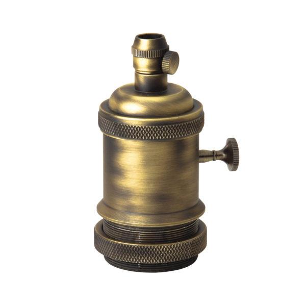 Vintage objímka s otočným spínačom, E27, mosádzna matná farba
