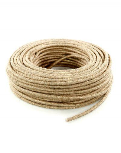 Kábel dvojžilový v podobe retro lana, juta, 2 x 0.75mm, 1 meter