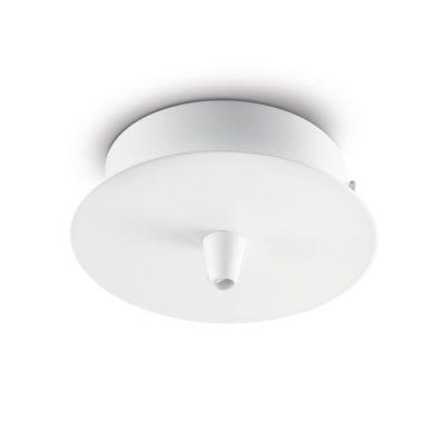 Kovová stropná rozeta pre 1 svietidlo, okrúhla v bielej farbe