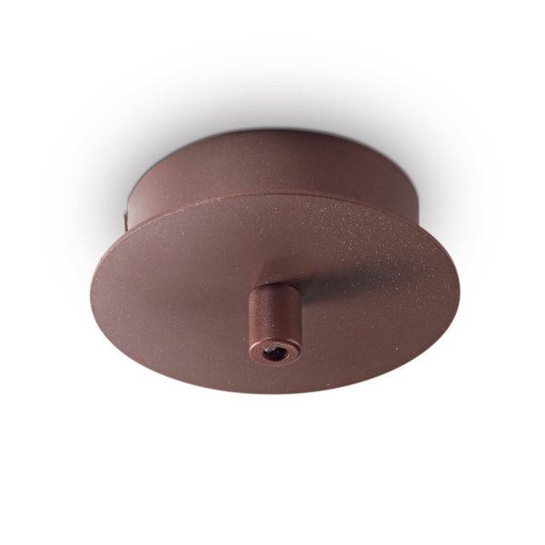 Kovová stropná rozeta pre 1 svietidlo, okrúhla v marrone farbe | Ideal Lux