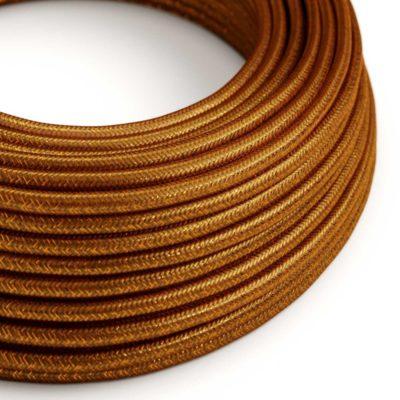 Kábel s trblietavým povrchom, Umelý hodváb, Medená farba, 2 x 0.75mm, 1 meter