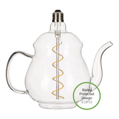 LED Žiarovka Čajník Earl Clear, E27, 4W, 2200K, 240lm, Stmievateľná   Bailey Lights