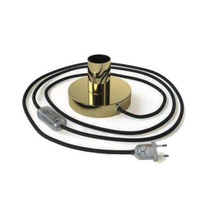Mosádzna kovová stolná lampa s textilným káblom, vypínačom a dvojpólovou zástrčkou | Daylight Italia