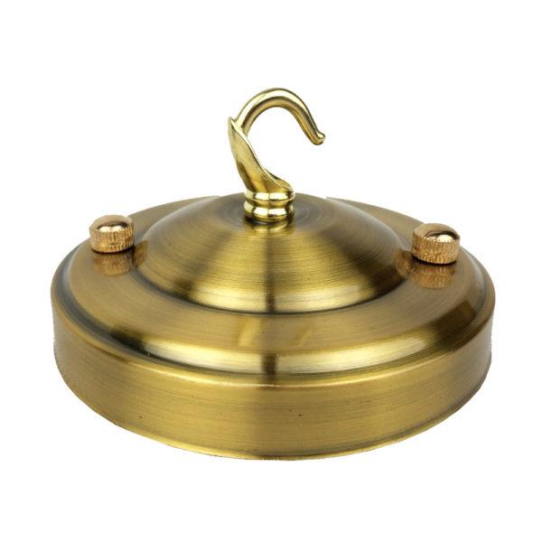 Stropná kovová rozeta na svietidlo • so závesným hákom • staro zlatá
