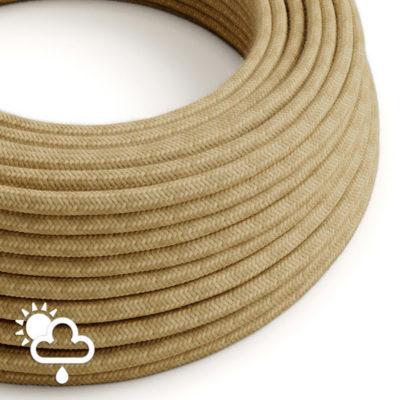 Kábel do exteriéru dvojžilový v podobe retro lana, juta, 2 x 1mm, 1 meter