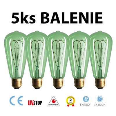 Smaragdová LED žiarovka - TEARDROP - 5W, 280lm, E27, Stmievateľná, 2200K – BALENIE 5 KUSOV