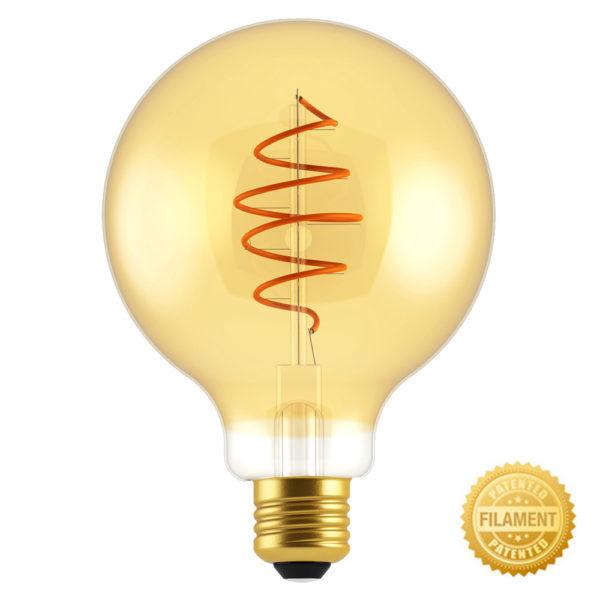 Zlatá LED žiarovka - CROISSANT SPHERE - 5W, E27, Stmievateľná, 2000K, 250lm   Daylight Italia