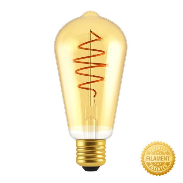 Zlatá LED žiarovka - CROISSANT TEARDROP - 5W, E27, Stmievateľná, 2000K, 250lm   Daylight Italia