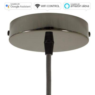 SMART WIFI Stropná rozeta kompatibilná s hlasovými asistentmi Google Home a Amazon Alexa, čierna perleťová
