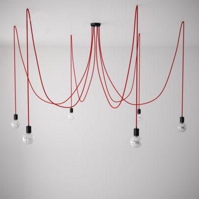 Závesné svietidlo pavúk so 6 päticami s červenými káblami a čiernou rozetou
