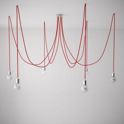 Závesné svietidlo pavúk so 6 päticami s červenými káblami a chrómovou rozetou
