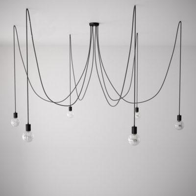 Závesné svietidlo pavúk so 6 päticami s čiernymi káblami a čiernou rozetou