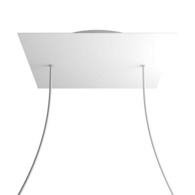XXL Štvorcová kovová stropná rozeta s priemerom 40 cm a 2 otvormi
