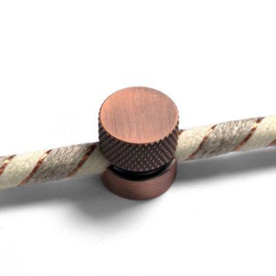 Kovová nástenná fixácia pre textilný kábel - Brúsená medená farba.
