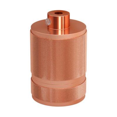 Mohutná objímka z hliníkovej zliatiny E27 vhodná pre použitie tienidla • Medená