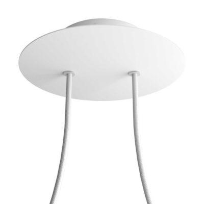 Okrúhla kovová stropná rozeta s priemerom 20 cm a 2 otvormi