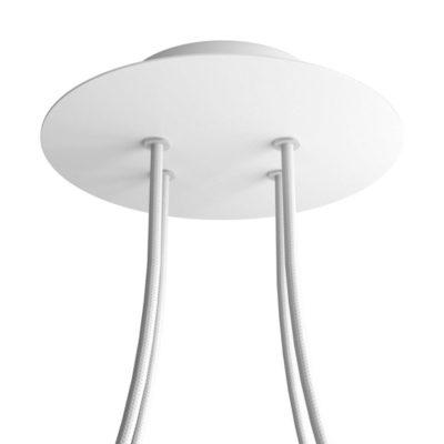 Okrúhla kovová stropná rozeta s priemerom 20 cm a 4 otvormi