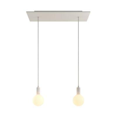 2-svetelné závesné svietidlo so 675 mm obdĺžnikovou rozetou v bielej farbe