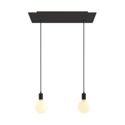2-svetelné závesné svietidlo so 675 mm obdĺžnikovou rozetou v čiernej farbe