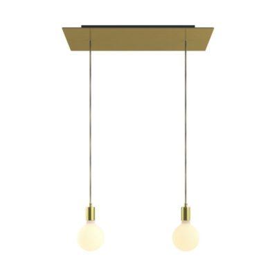 2-svetelné závesné svietidlo so 675 mm obdĺžnikovou rozetou v saténovej mosádznej farbe