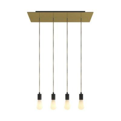 4-svetelné závesné svietidlo so 675 mm obdĺžnikovou rozetou SATIN BRASS / BLACK