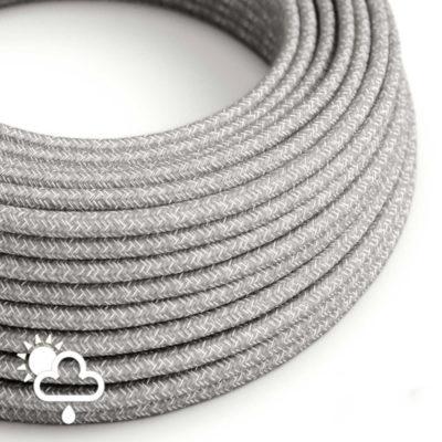 Kábel do exteriéru dvojžilový v podobe textilnej šnúry so vzorom, Gray:White, 2 x 1mm, 1 meter