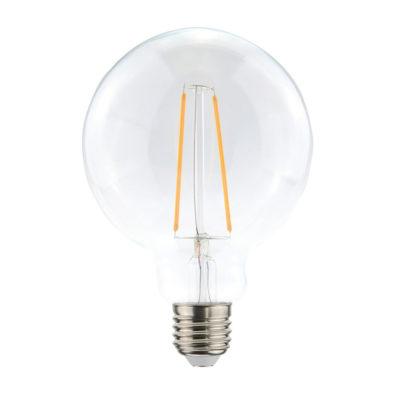Priehľadná LED žiarovka - G125, 4W, E27, 400lm, Teplá biela | Daylight Italia