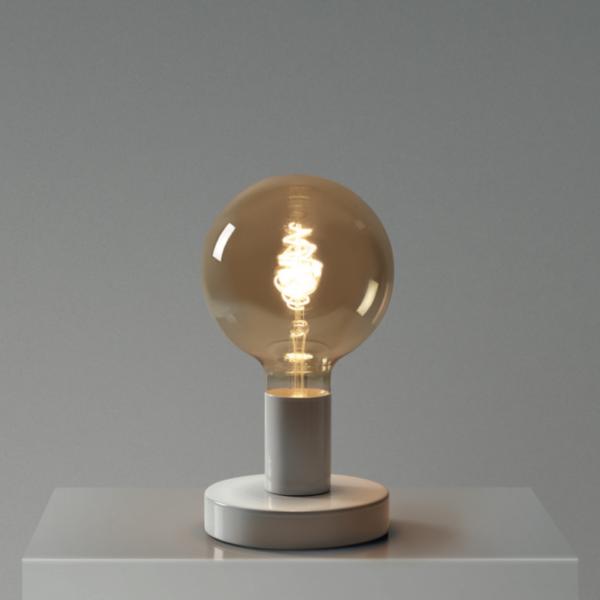 Biela kovová stolná lampa so žiarovkou CROISSANT SPHERE | Daylight Italia
